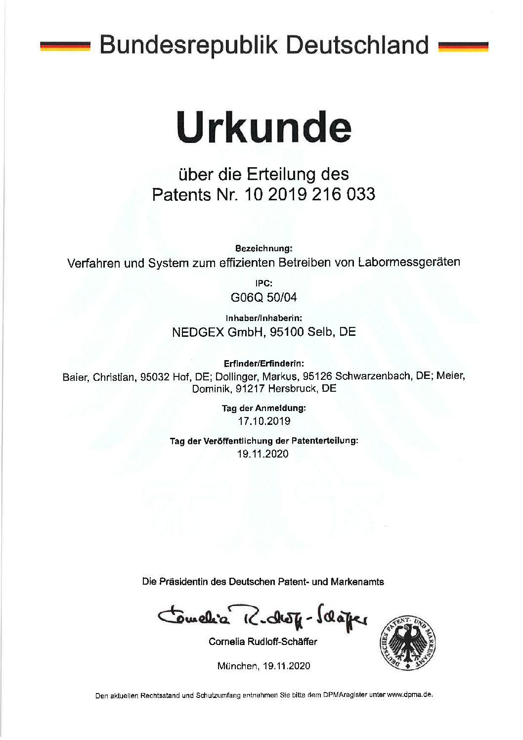 Erstes NEDGEX Patent erteilt!